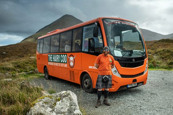 The Hairy Coo coach with one of our driver guides