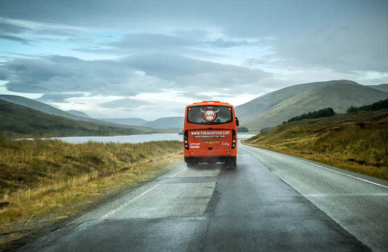 Daizy, The Hairy Coo coach on tour in Scotland
