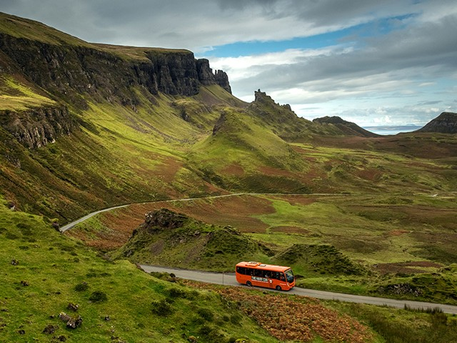 The Hairy Coo coach on the Isle of Skye