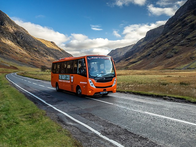 The Hairy Coo Coach on a Tour of Scotland